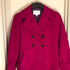 Raspberry warmth! Wool Banana Republic swing coat